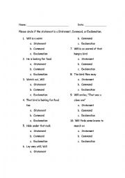 English Worksheet: Types of Sentences: Command, Exclamation, Statement