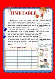 English Worksheet: Timetable