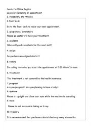 English Worksheet: Dental English-Cancel the appointment