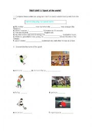 English Worksheet: Test Sport of the world