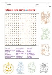 Halloween word search & colouring sheet.
