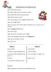 English Worksheet: Telephone conversation
