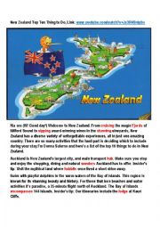 English Worksheet: New Zealand Top Ten Things to Do