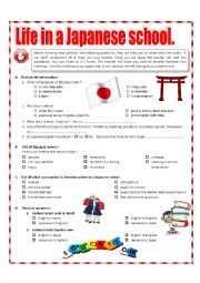 English Worksheet: Listening - Life in a Japanese school + video link + key + tape script