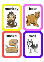English Worksheet: jungle animals flascards