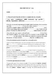 English Worksheet: mid-term test 1 3rd formers