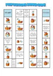 English Worksheet: PREPOSITIONS BOARD GAME