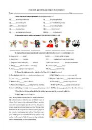English Worksheet: POSSESSIVE ADJECTIVES AND SUBJECT PRONOUNS TEST