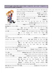English Worksheet: Present, Past & Present Perfect - Simple & Progressive (1)