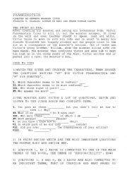 English Worksheet: Frankenstein movie worksheet