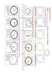 English Worksheet: THE CLOCK: TELLING THE TIME