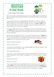 English Worksheet: Christmas in Wales--Dylan Thomas. with key. Level B2