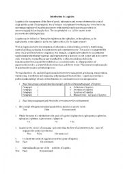 English Worksheet: Logistics - reading
