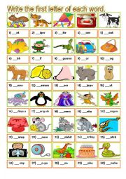 English Worksheet: Initial sound - alphabet