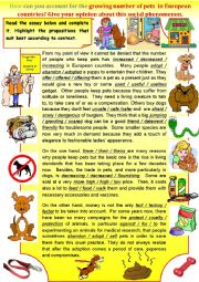 English Worksheet: Gr - Opinion Essay -  How can you account for the growing number of pets in Europe today ?  + key
