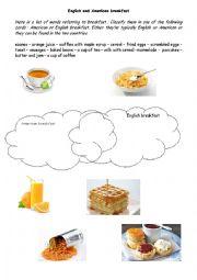 English Worksheet: English & American breakfast