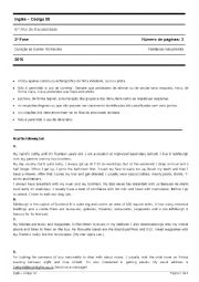 English Worksheet: Evaluation test, 6th form