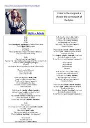 English worksheet: New Song Adele - Hello