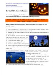 English Worksheet: BET YOU DIDN�T KNOW:  THE HISTORY OF HALLOWEEN (Video)