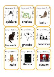 English Worksheet: Are you afraid of...? Go Fish