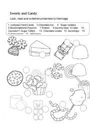 English Worksheet: Sweets for Halloween