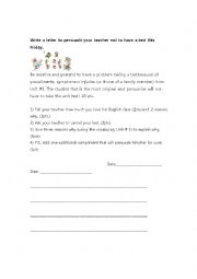 English Worksheet: Dear Teacher... Persuasive Letter