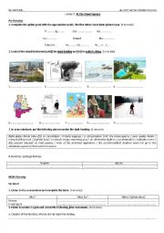 English Worksheet: Lesson 7: At The Travel Agency (4th year)