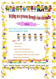 English Worksheet: Writing as a process through class discussion :First day at school memories.