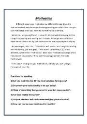 English Worksheet: Motivation