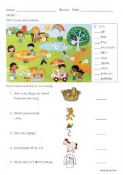 English Worksheet: basic English revision - editable