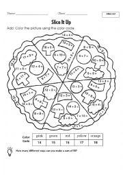 English Worksheet: pizza colour