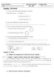 English Worksheet: mid term test n�1 8th former
