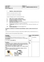 English Worksheet: lesson plan Englisg secondary schools part one