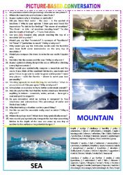 Picture-based conversation  : topic 90 - mountain vs sea (symbolic meaning)