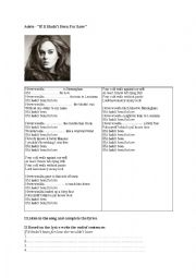English Worksheet: If it hadn´t been for love Adele (third conditional) song & exercises