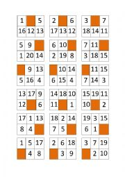 Bingo of Numbers from 1 to 20