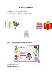 English Worksheet: Invitation Worksheet