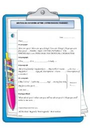 English Worksheet: WRITING AN INFORMAL LETTER:INTRODUCING YOURSELF