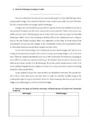 English Worksheet: Countryside: advantages and disadvantages