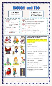 English Worksheet: ENOUGH and TOO