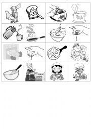 English Worksheet: cooking verbs memory cards