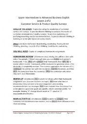 English Worksheet: UPPER INTERMEDIATE TO ADVANCED BUSINESS ENGLISH - CUSTOMER SERVICE/PRODUCT QUALITY SURVEYS