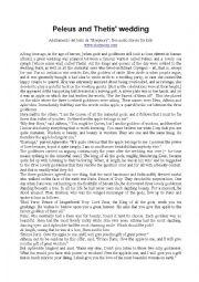 English Worksheet: Peleus and Thetis