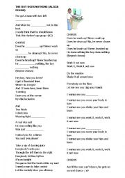 English Worksheet: The boy does nothing Song