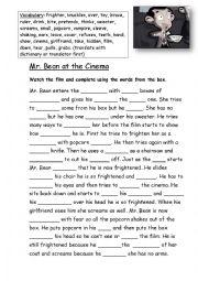 English Worksheet: Mr. Bean at the Cinema (Basic gap fill)