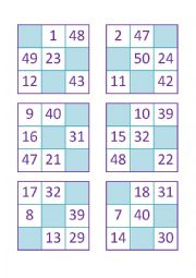 Bingo of Numbers from 1 to 50