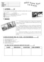 English Worksheet: Mid term test 1st grade