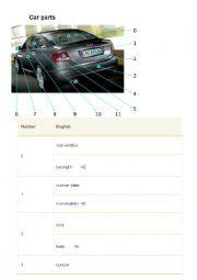 English Worksheet: Car parts