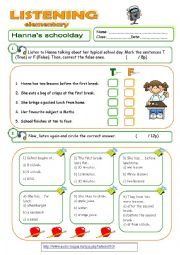 English Worksheet: LISTENING - Hanna´s school day