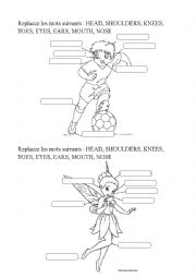 English Worksheet: BODY PARTS FOR THE SONG HEAD SHOULDERS KNEES AND TOES